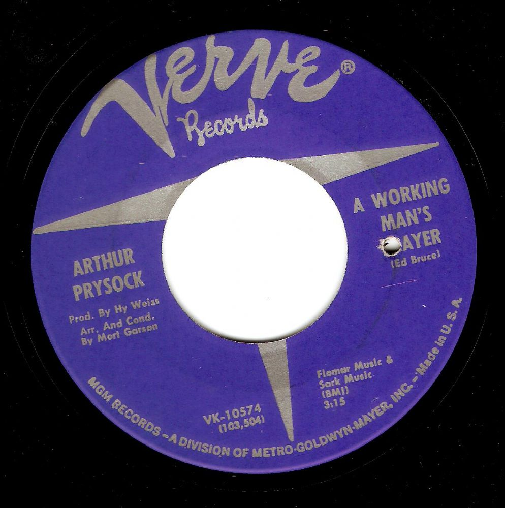 ARTHUR PRYSOCK A Working Man's Prayer Vinyl Record 7 Inch US Verve 1967